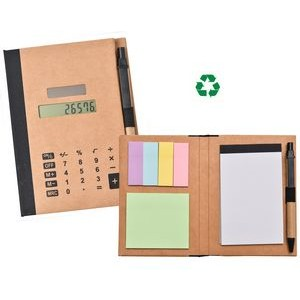Recycled Solar Calculator with Pen, Notepad & Flags